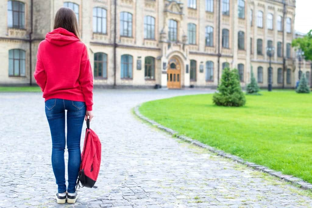 Back rear behind full length bosy size photo of serious confident concentrated hipster holding schoolbag in hand looking at the entrance standing near green lawn